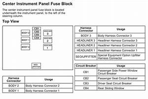 Center Panel Fuse Block Diagram For The 2008 Chevrolet Avalanche  61301