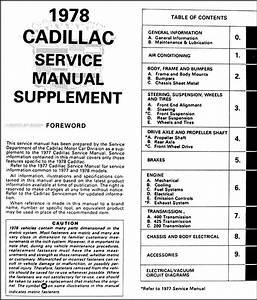 1978 Cadillac Repair Shop Manual Original Supplement