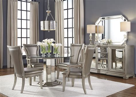 couture silver  pedestal dining room set  pulaski