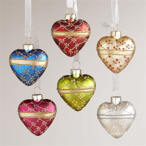 glass mini heart ornaments set of 6 world market