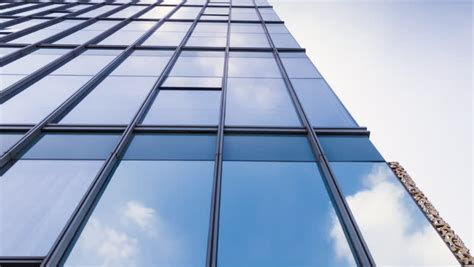 stock video clip  glass curtain wall reflection