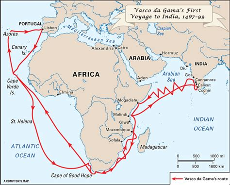 Route Vasco Da Gama by Gama Vasco Da Voyage To India 1487 99