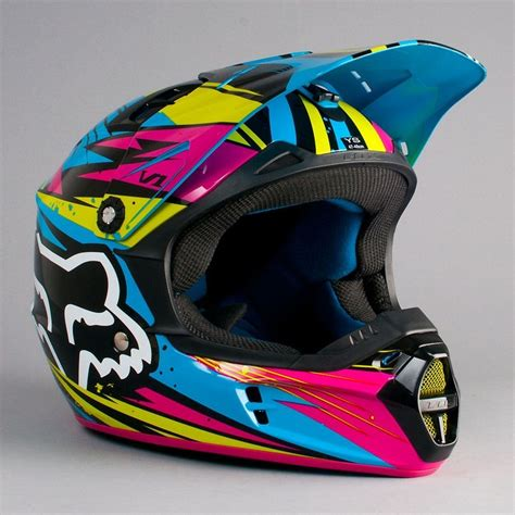 dirt bike helm fox v1 undertow helmet green blue helmets