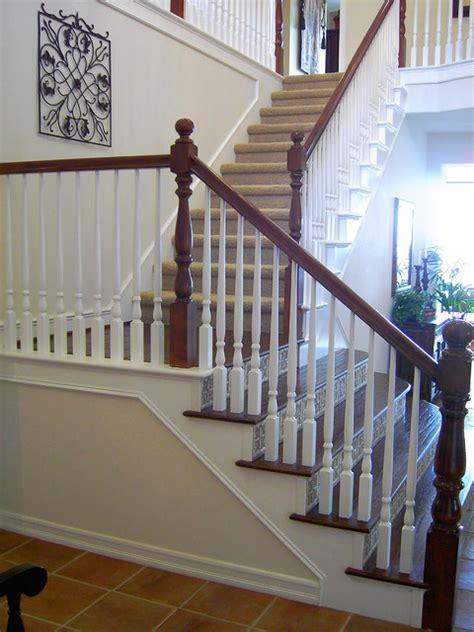 ceramic tile stair riser  solid dark oak tread