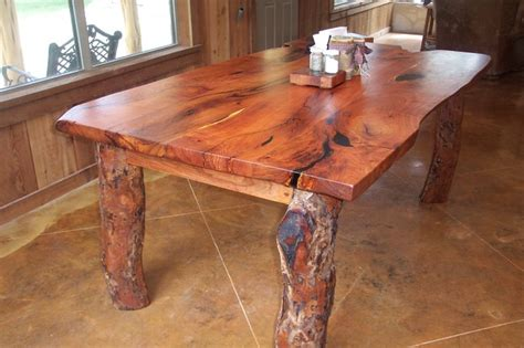 rustic mesquite  edge table contemporary dining