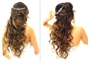 easy bridesmaid hair easy wedding half updo hairstyle with curls bridal hairstyles for medium hair