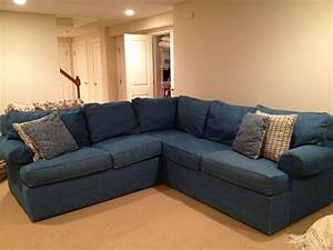 20 collection of denim sofa slipcovers sofa ideas for Small sectional sofa denim