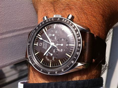 omega speedmaster 145 012 with tropical maroon brown