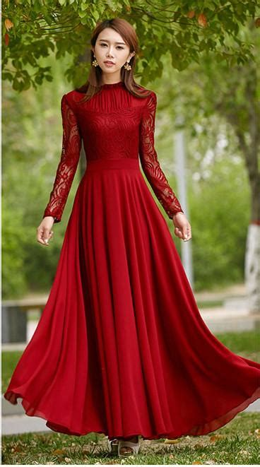 Charming Long Lace Sleeves Pleated Chiffon Long Red Maxi