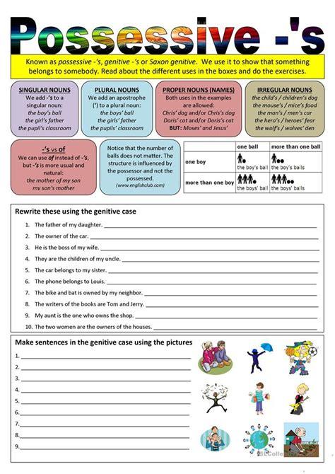 possessive  worksheet  esl printable worksheets