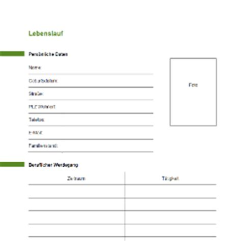 Tabellarischer Lebenslauf Vordruck by Muster Lebenslauf Word Muster Lebenslauf Zum Ausdrucken
