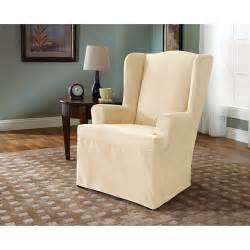 sure fit soft suede piece wing chair slipcover cream