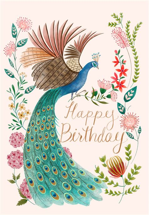 peacock flowers birthday card   island