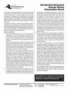 Residential Detached Garage Wiring Info Sheet