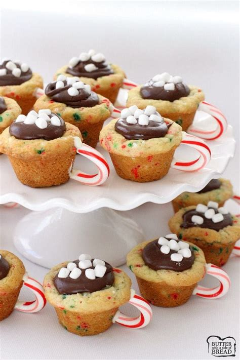 hot chocolate cookie cups butter   side  bread