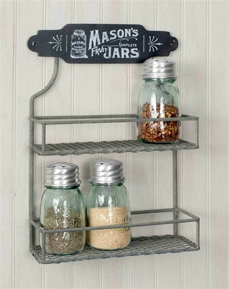 Wall Mount Spice Rack With Jars by Vintage Shabby Chic Rustic Chicken Wire Wall Mount Grey