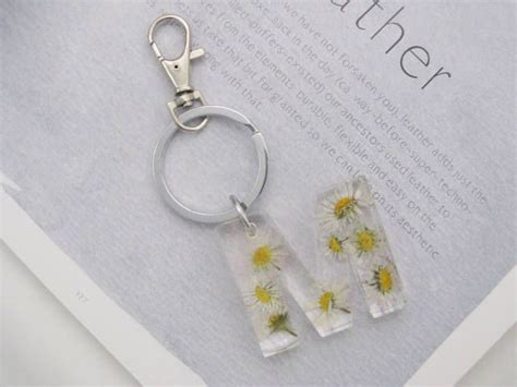 initial keyring real flower keyring keychain initial  bag charm monogram charm keyring
