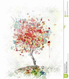 Watercolor Image Of Autumn Tree Stock Illustration - Image ...