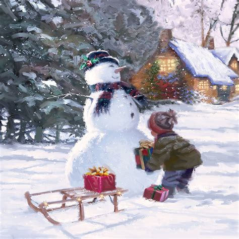 snowman presents children  christmas  diamond painting