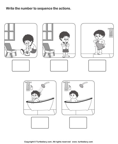 Picture Sequencing Boy Dressing Up Worksheet  Turtle Diary
