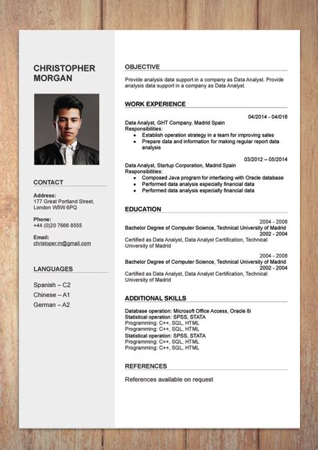Cv Document Exle by Cv With Photo