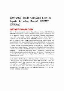2007 2009 Honda Cbr600rr Service Repair Workshop Manual