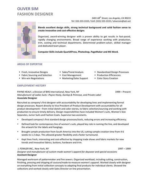 Fashion Designer Resume by Fashion Designer Page1 Designer Resume Sles Graphic