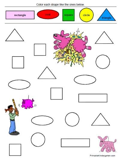 unique worksheets shapes colors for prk k 35 pages
