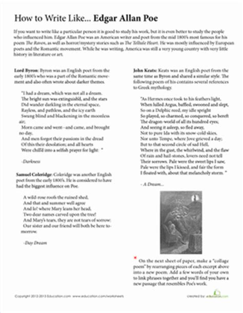 how to write like edgar allan poe worksheet education