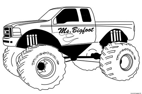 Monster Truck Big Foot Coloring Pages Printable