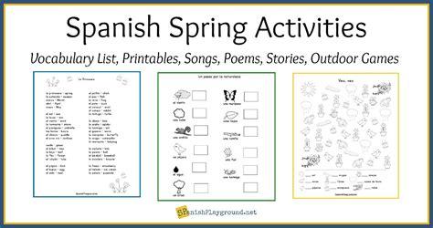 spanish spring activities  vocabulary list spanish playground