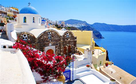 Nature Landscape Sea Houses Greece Santorini Wallpaper
