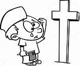Cartoon Boy Memorial Crying Kleurplaat Grave Coloring Graf Huilen Soldiers Jongen Soldaten Bij Outlined Depositphotos Tekenfilm Overzicht Stockillustratie sketch template