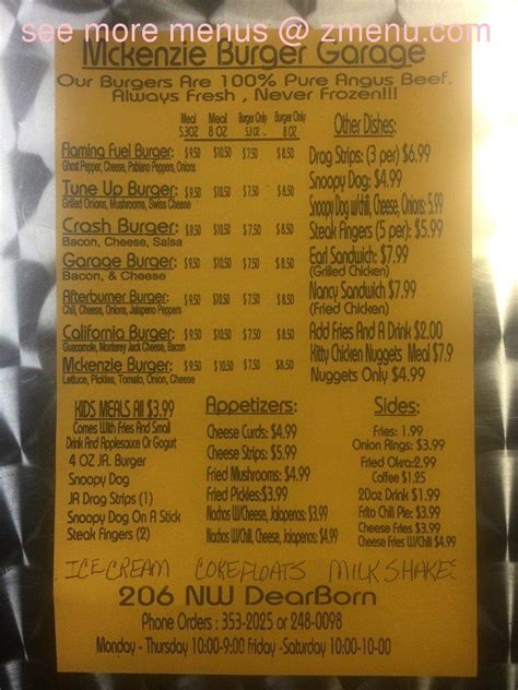 the burger garage menu menu of s burger garage restaurant lawton oklahoma 73507 zmenu