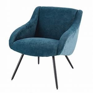 Fauteuil Velours Bleu : fauteuil vintage en velours bleu et m tal joyce maisons du monde ~ Teatrodelosmanantiales.com Idées de Décoration