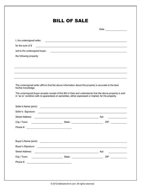 blank bill  sale form