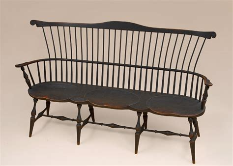 settee bench with back fan back settee primitive black bench