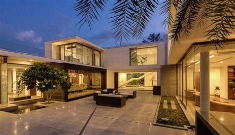 Contemporary New Delhi Villa With Amazing Courtyard And Water Features by Center Court Villa By Dada Partners Contemporist