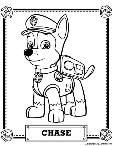 Paw Patrol Chase Coloring Page Coloring Page Central