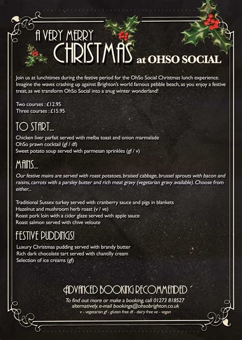 christmas lunch book now ohso social brighton