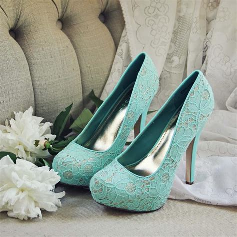 peony mint heels sweet lace party wedding shoes