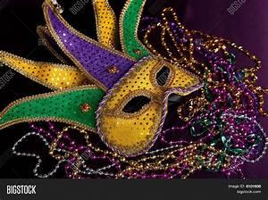 Mardi Gras Mask Beads On Purple Image & Photo | Bigstock