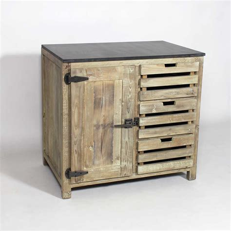 cuisine ilot central design meuble cuisine bois recyclé poignées type frigo made in meubles
