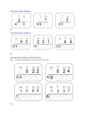 year 4 5 6 maths short division lesson plans by