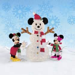 christmas disney mickey minnie mouse decorating the snowman led indoor outdoor ebay