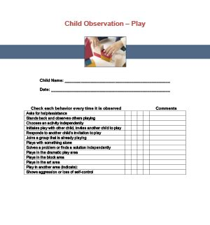 play observation checklist printable for child care 794 | 5179b848f3dc28f8d3f5ad4b5db5fdd3