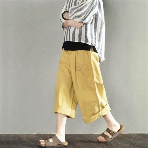 wide leg yellow wide leg summer linen trousers