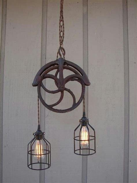 pulley light fixture steunk industrial