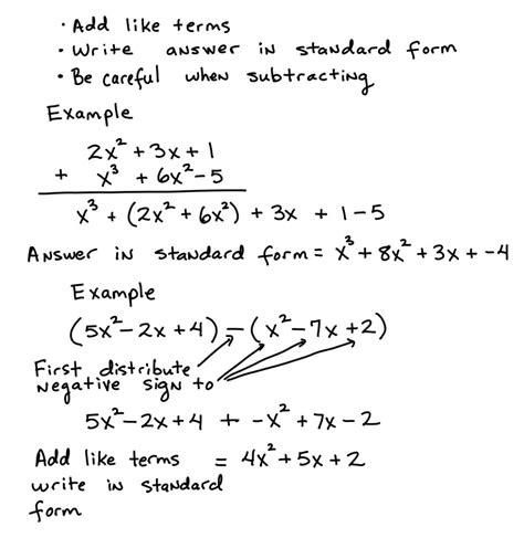 Adding And Subtracting Polynomials  Algebra Test Helper