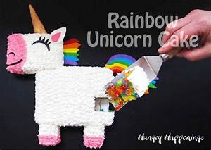Rainbow Unicorn Cake with Tie-Dye Rainbow Cake Inside